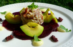 Beetroot Carpacio with Crab Salad