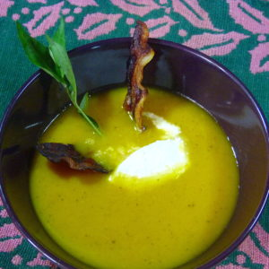 Carrot and Apple Soup with Bacon