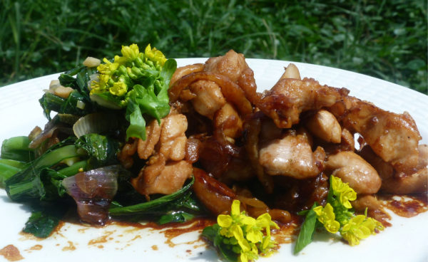 Chicken stir fry with mustard leaves 013