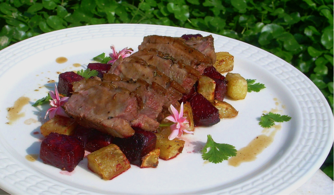 Roasted Duck Breast with Lavender, Beetroot and Sweet Potato Link