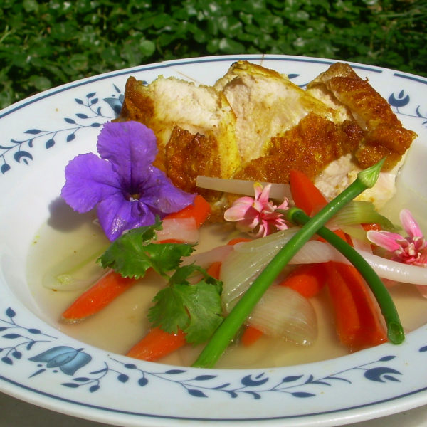 Fried Chicken Breast in Broth